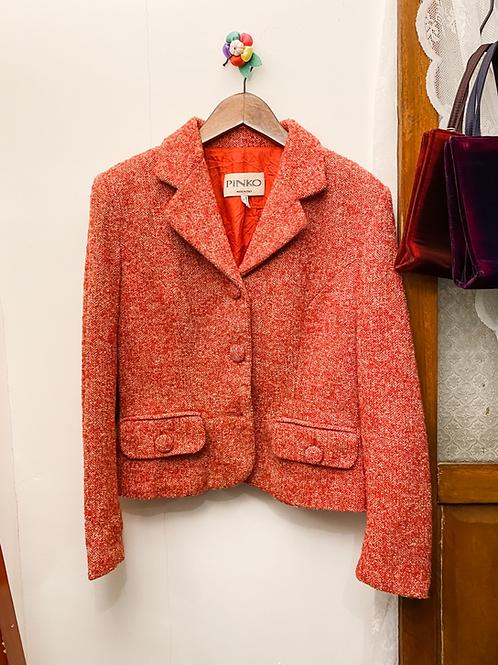 紅白花布西裝外套
