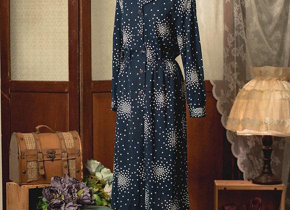 深藍白點恤衫領長袖連身裙