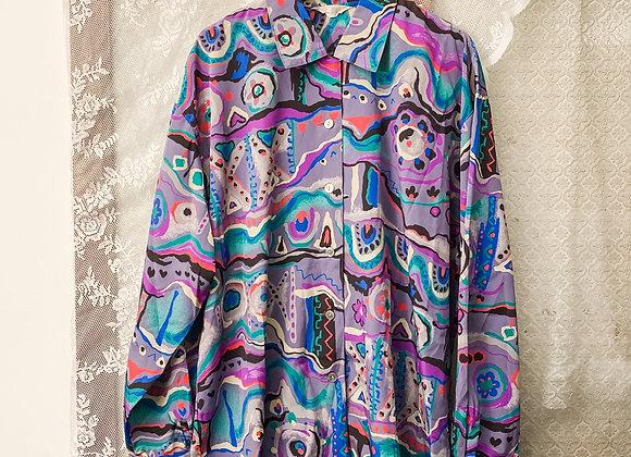 灰紫抽象畫長袖裇