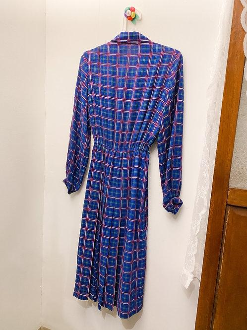 深藍彩格長袖連身裙
