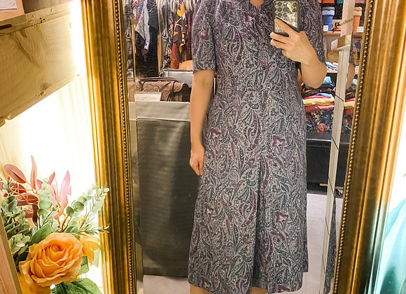 嬤紫腰果花Ruffle領短袖連身裙