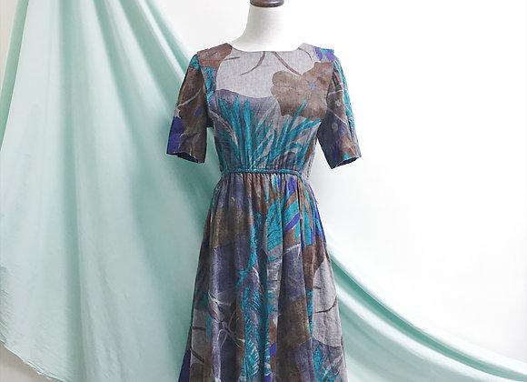 啡綠森系古著連身裙
