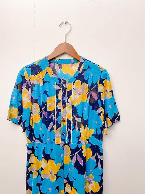藍黃大花短袖連身裙