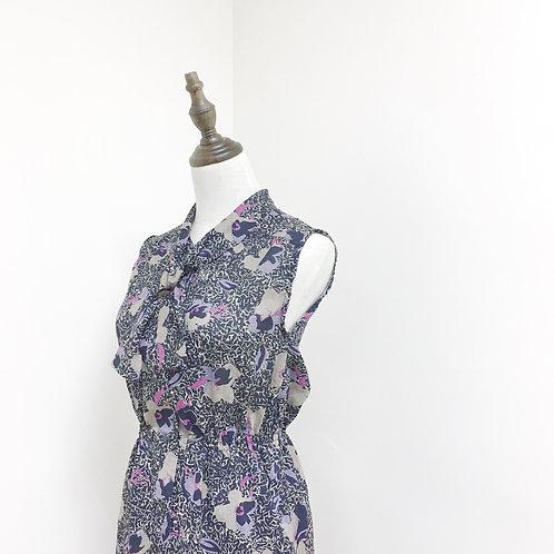黑紫蝴蝶領連身裙