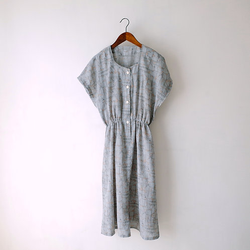 灰橙淡花短袖連身裙