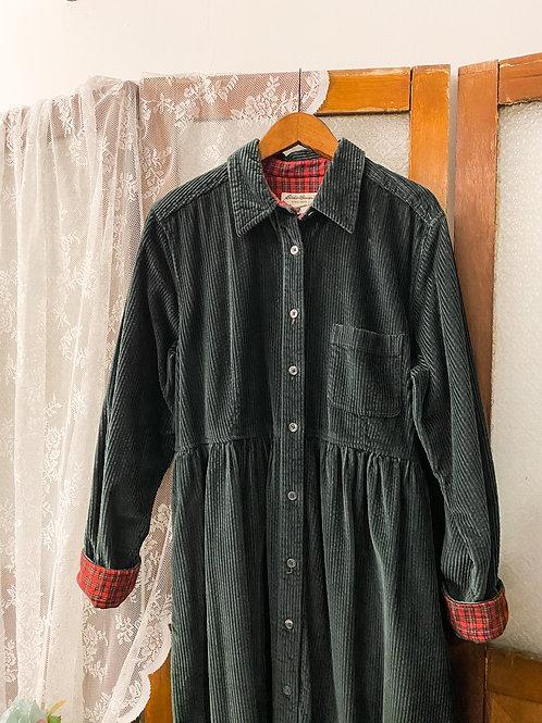 深綠登芯絨長袖連身裙