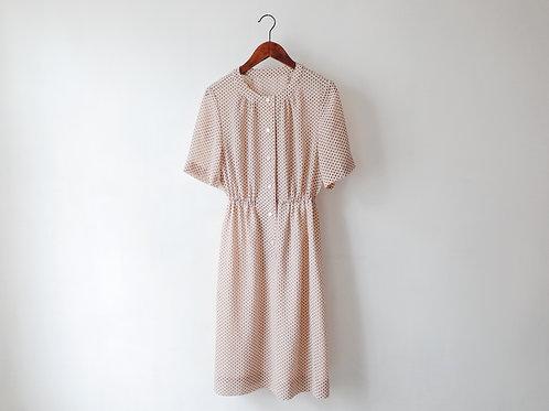 杏啡圓點短袖連身裙