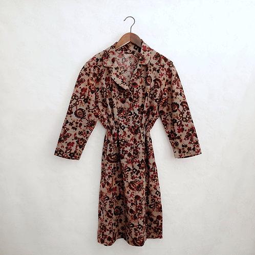 灰杏碎花長袖連身裙