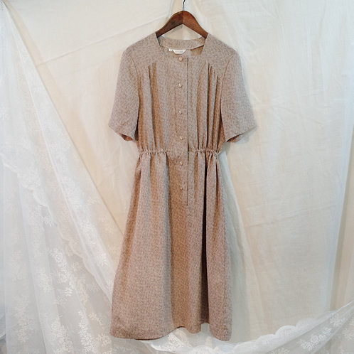 裸色葉紋短袖連身裙