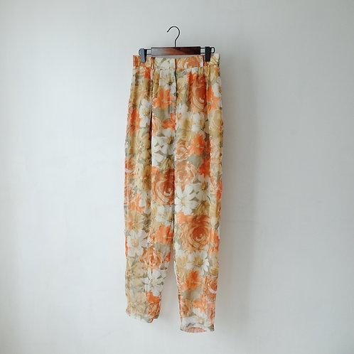 土黃橙花簿紗長褲
