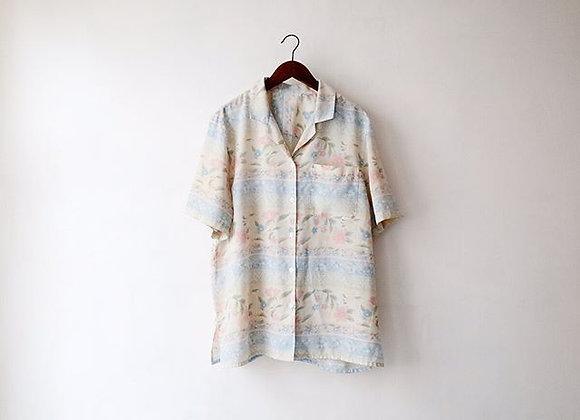 米白淡花短袖上衣