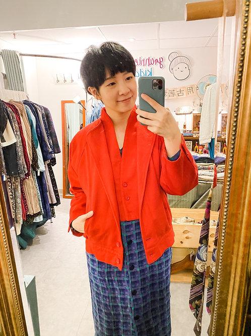 鮮紅layer絨面外套