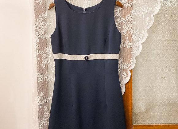 深藍白腰帶背心裙