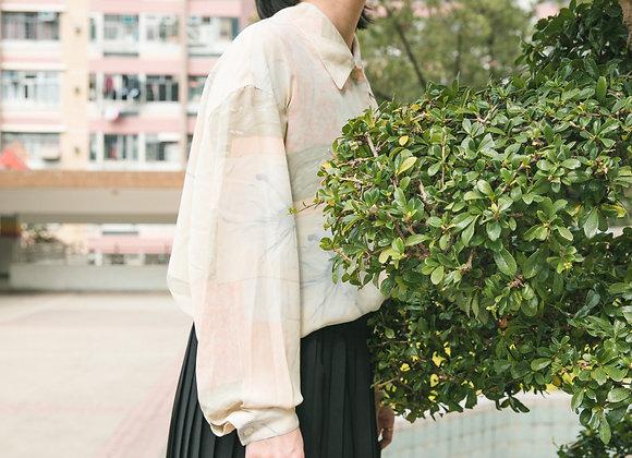 淡粉大花長袖恤衫