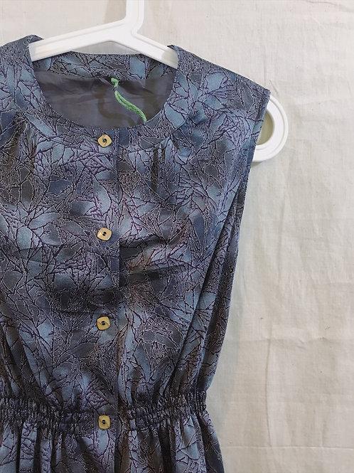 黑藍葉紋連身裙