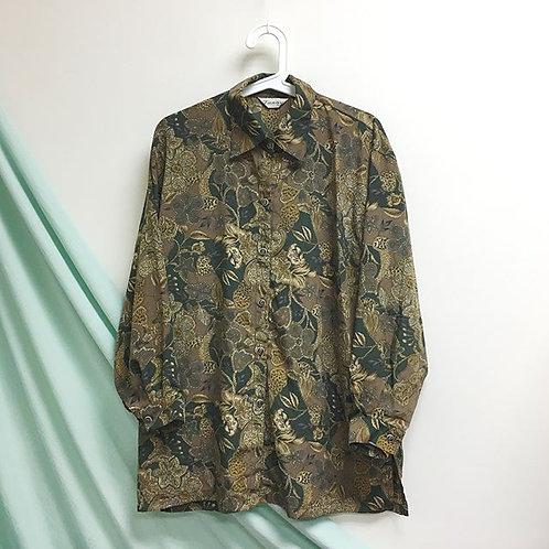 麻花啡綠長袖裇