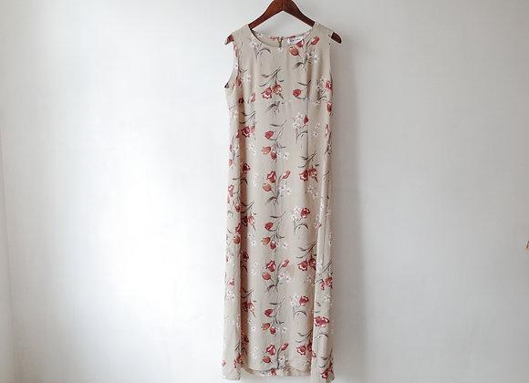 杏啡鬱金香背心連身裙