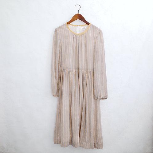 黃灰白直間長袖連身裙
