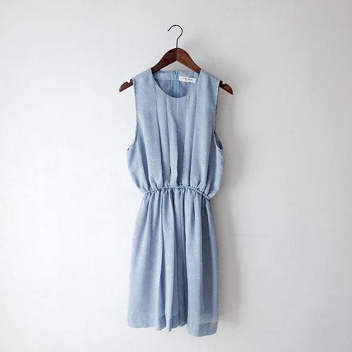 灰藍暗蝴蝶結背心連身裙