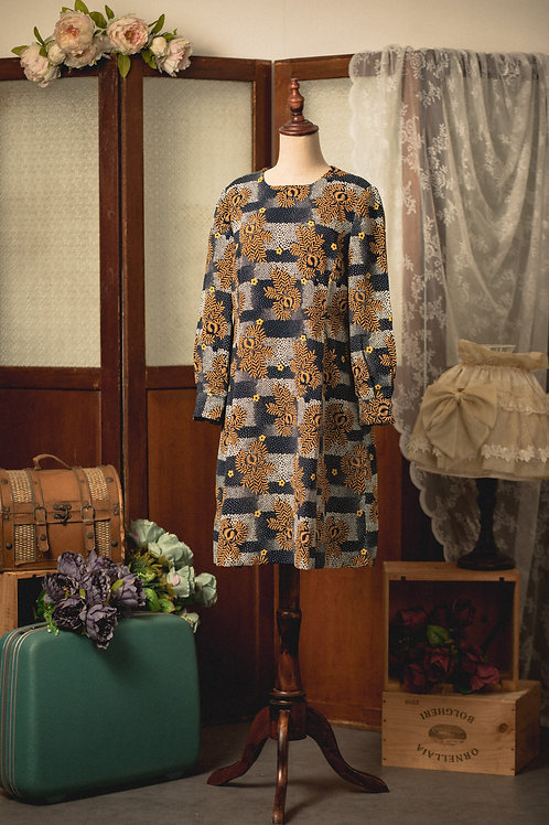 藍白黃葉紋長袖娃娃裙