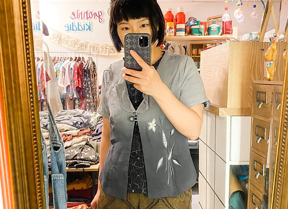 漸變灰繡花Ruffle領短袖外衣