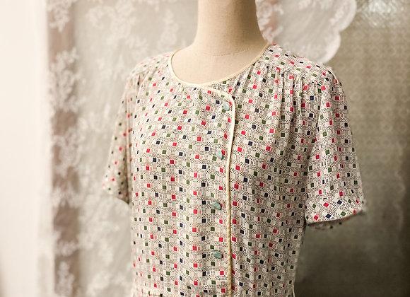 方塊格紋短袖連身裙