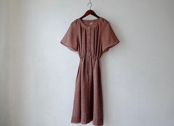 橙啡豹紋短袖連身裙