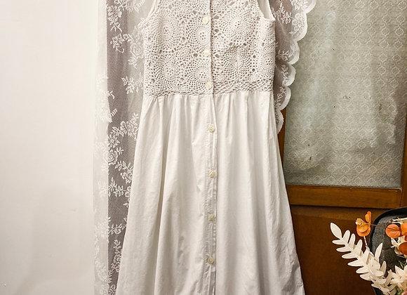 Rolls 白色鈎針背心連身裙