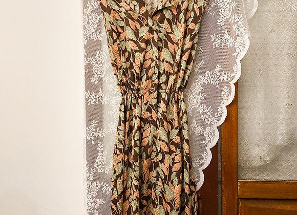 深啡橙綠葉紋背心連身裙