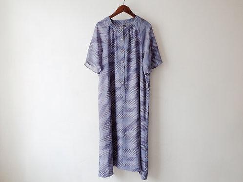 紫斜紋短袖娃娃裙