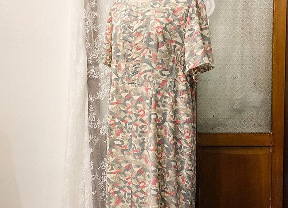 灰粉抽象短袖連身裙