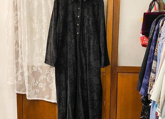 黑暗花登芯絨長袖連身裙