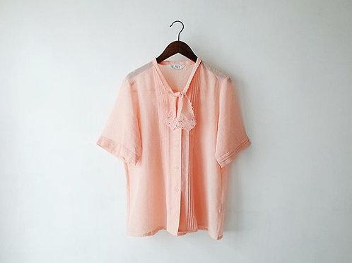粉橙通花領短袖上衣