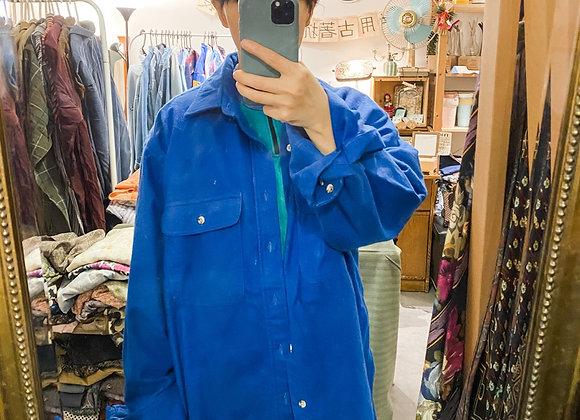 彩藍短毛絨長袖恤衫