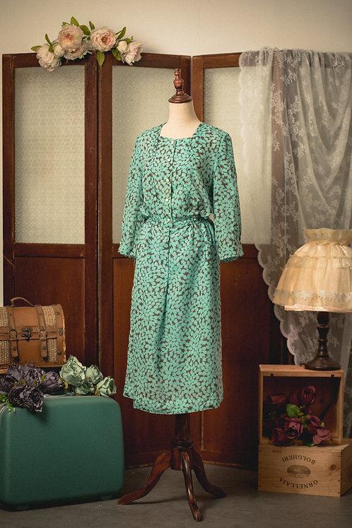 薄荷綠葉紋長袖連身裙