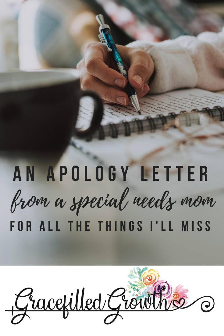 The apology of a special needs mom. Apology letter. Support for special needs parenting. Parenting a medically fragile child and isolation. Loneliness. What I want my friends to know.