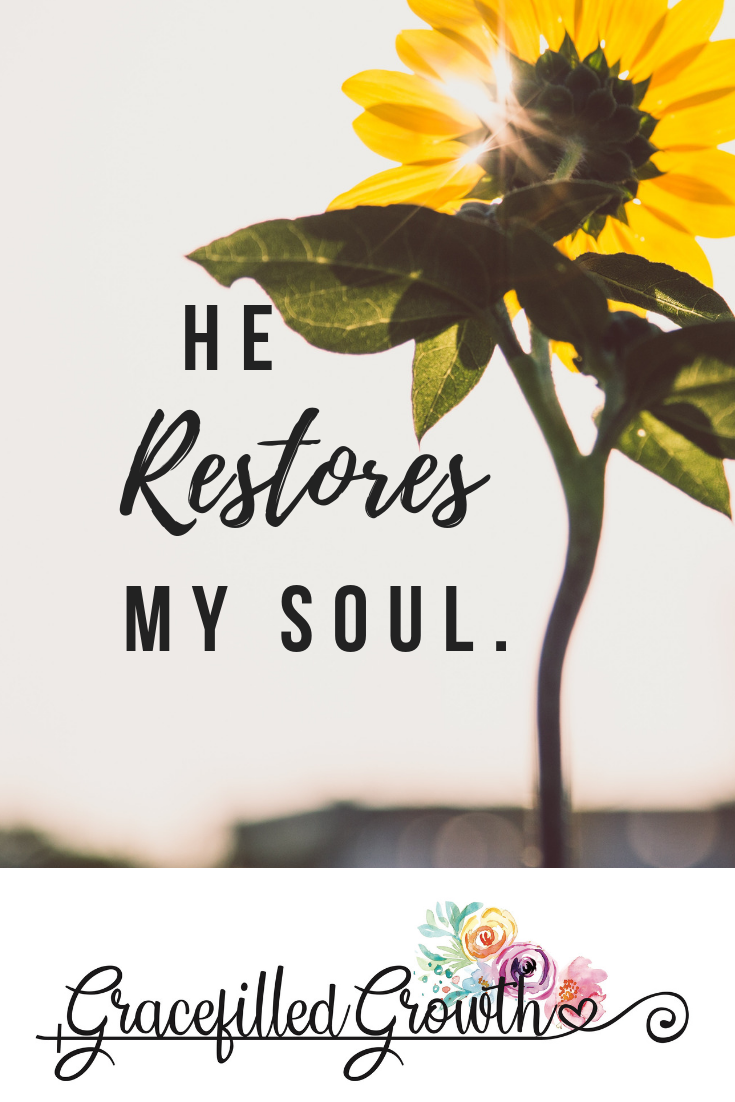 He restores my soul. 4 ways to refresh your body, mind, and soul. Self-care. Renewed Spirit. Can God restore my soul?