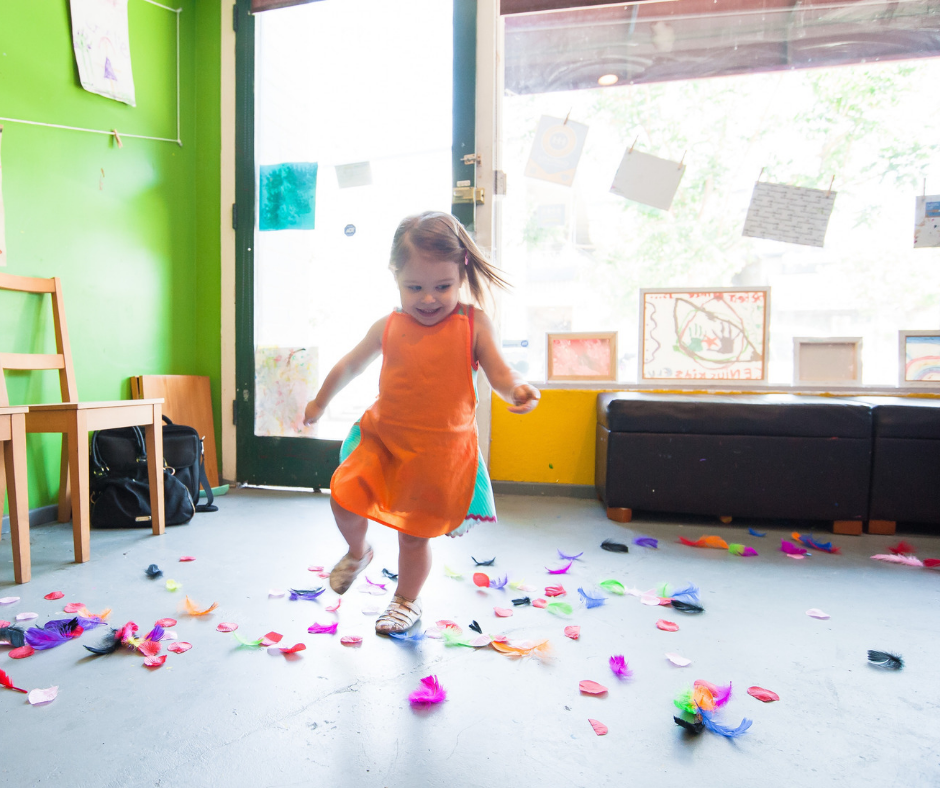 Toddler running around a messy room. Toddler Exuding joy. This is why every home needs a toddler.