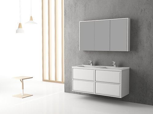 1200mm Wall Hung Bathroom Vanity With Double Resin Basins
