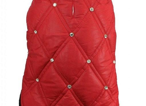 Rhinestone Puffer Vest - Red