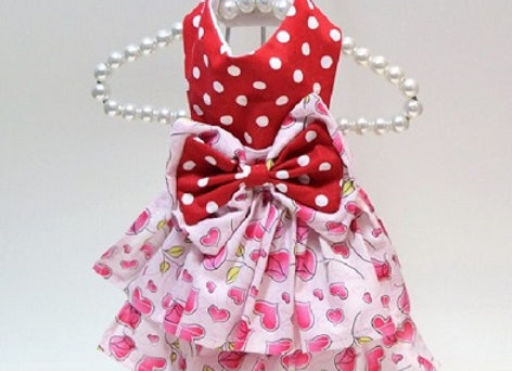 Red Polka Dot Dress with Pink Hearts