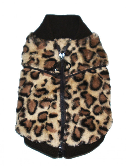 Cheetah Mink Vest - Brown