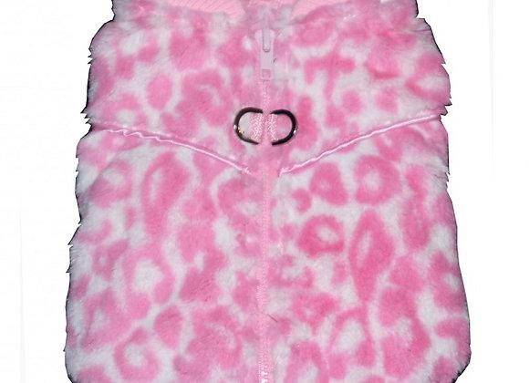 Cheetah Mink Vest - Pink