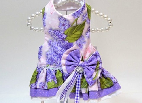 Purple Flower Dress with Matching Bows