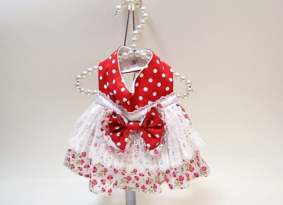 Red Polka Dot Dress with Lace