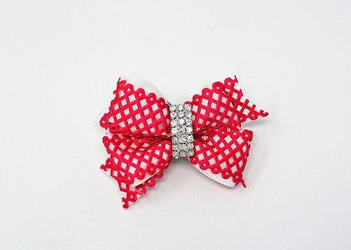 Pink Crochet Diamond Bow