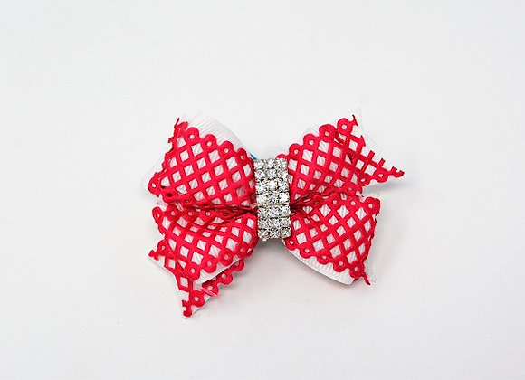 Pink Crochet Diamond Bow