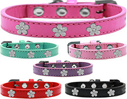 Faux Leather Flower Accent Collar