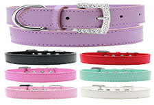 Crystal Buckle Leather Collar