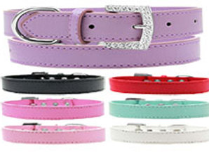 Leather Collar with Crystal Buckle